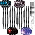 CyeeLife Professional Soft tip Darts Set 16 Gram,Fat Aluminium Shafts+100 Extra Plastic Tips+16 Flights(4 Designs)+Dart Tool,Plastic Darts tip Set for Electronic Dart Board-Black