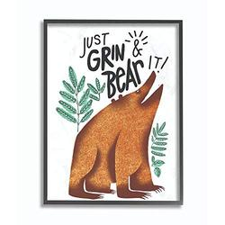 Stupell Industries Grin and Bear It Cartoon Animal Kids Nursery Word, Design by Artist The Saturday Evening Post Wall Art, 11 x 14, Black Framed