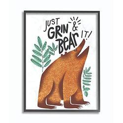 Stupell Industries Grin and Bear It Cartoon Animal Kids Nursery Word, Design by Artist The Saturday Evening Post Wall Art, 16 x 20, Black Framed