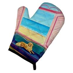 East Urban Home Golden Retriever Couch Sitting Oven Mitt Polyester in Blue/Pink, Size 8.5 W in   Wayfair 7188OVMT