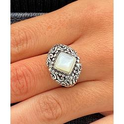 Sevil 925 Women's Rings - Imitation Pearl & Sterling Silver Kite Filigree Ring