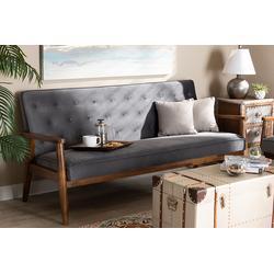 Baxton Studio Sorrento Mid-century Modern Grey Velvet Fabric Walnut Finished Wooden 3-seater Sofa - Wholesale Interiors BBT8013-Grey Velvet/Walnut-SF
