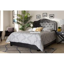 Baxton Studio Samantha Modern Grey Velvet Fabric Full Size Button Tufted Bed - Wholesale Interiors Samantha-Grey-Full