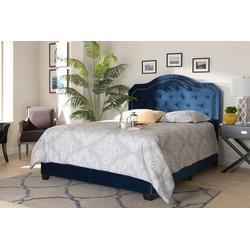 Baxton Studio Samantha Modern Navy Blue Velvet Fabric King Size Button Tufted Bed - Wholesale Interiors Samantha-Navy Blue-King