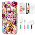 STENES Sparkle Case Compatible with Moto G4 / Moto G4 Plus - Stylish - 3D Handmade Bling Red High Heel Snow Rose Flowers Design Cover with Screen Protector & Cable Protector - Colorful