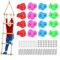 Odoland 16 Rock Climbing Holds for Kids with Climbing Rope Ladder and 32 Mounting Bolts - Climbing Grips DIY Rock Stone Wall Rock Climbing Holds Set Design for Children and Kid