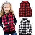 Toddler Baby Girls Winter Warm Vest Clothes Buffalo Plaid Jacket Kids Puffer Quilted Gilet Coat (Red Plaid Vests, 3-4T)