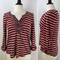 Anthropologie Tops | Anthropologie Postmark Ruffle Stripe Henley Small | Color: Cream/Red | Size: S