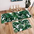 "HVEST 2pcs Palm Leaf Area Rug Set Monstera Leaves Carpet Tropical Dark Green Foliage Non-Slip Runner Rug for Living Room Bedroom Kitchen Floor Mat,(1'4"" x 4'+1'4"" x 2')"