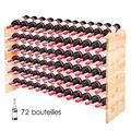 GOPLUS Casier à Bouteilles pour 72 Bouteilles, Range Bouteille Vin avec 6 Étagères, Porte Bouteille en Pin Massif, Grand Espace Superposable, pour Bars, sous-sols, 119 x 29 x 71,5CM, Bois Naturel