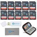 SanDisk 32GB Ultra SD Memory Card (10 Pack) SDHC UHS-I Card Class 10 (SDSDUNB-032G-GN3IN) Bundle with (1 Each) SD Card Wallet, Everything But Stromboli Microfiber Cloth, and SD/Micro Card Reader