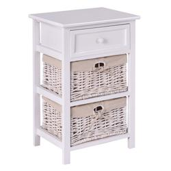 Costway 3 Tiers Wooden Storage Nightstand with 2 Baskets and 1 Drawer-white