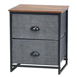Costway Metal Frame Nightstand Side Table Storage with 2 Drawers-Black