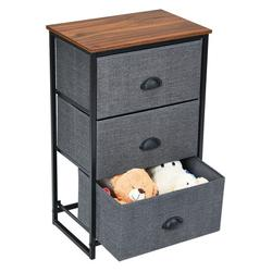 Costway Nightstand Side Table Storage Tower Dresser Chest with 3 Drawers-Black