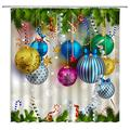 XZMAN Christmas Ball Shower Curtain Colorful Balls Hang on Green Pine Leaf White Snowflake Blue Gold Purple Polyester Waterproof Bathroom Decor Set 70 X 70 Inches with Hooks
