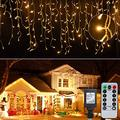 Icicle Lights Christmas Lights Outdoor, 19.6 Feet 306 Led Twinkle Curtain String Lights, With Remote Timing,Waterproof Hanging light for Patio Tree Indoor Christmas Decorations Outside,Warm White
