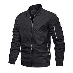MAGCOMSEN Bomber Jacket Men Windbreaker Jacket for Men Spring Jacket with Zipper Pockets Mens Windbreaker Fall Jacket Jackets Black