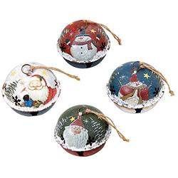 Attraction Design Christmas Jingle Bell Hanging Ornament Set of 4, 3X2.5 Inch Rustic Christmas Tree Snowman Decoration Bell Ornament Wall Door Hanging Decoration Party Decor Xmas Gifts (Jingle Bell B)