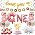 Donut First Birthday Party Decoration Supplies Kit, 37Pcs, 1st Birthday Decorations, Including Donut One Foil Balloon, Donut Banner, Donut Grow up Banner, Cake Topper, Swirl, Star Foil, Latex Balloon