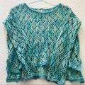 Free People Sweaters | Free People Crochet Knit Sweater Size Small | Color: Blue/Green | Size: S