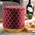 Baxton Studio Serra Glam & Luxe Red Quatrefoil Velvet Fabric Gold Finished Metal Storage Ottoman - Wholesale Interiors JY19A257-Red/Gold-Otto