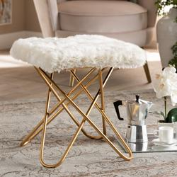 Baxton Studio Valle Glam & Luxe White Faux Fur Upholstered Gold Finished Metal Ottoman - Wholesale Interiors JY19A262-White/Gold-Otto