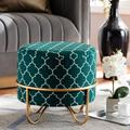 Baxton Studio Candice Glam & Luxe Teal Green Quatrefoil Velvet Fabric Gold Finished Metal Ottoman - Wholesale Interiors JY19A254-Teal/Gold-Otto