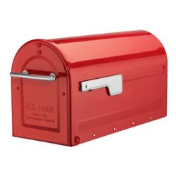 Architectural Mailboxes Boulder Post Mounted Mailbox Steel in Red, Size 10.6 H x 8.5 W x 20.71 D in | Wayfair 7900-7R-SR