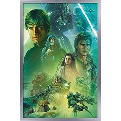 "Trends International Star Wars: The Return of The Jedi - Celebration Mural Wall Poster, 14.725"" x 22.375"", Silver Framed Version"