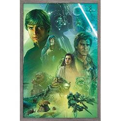 "Trends International Star Wars: The Return of The Jedi - Celebration Mural Wall Poster, 14.725"" x 22.375"", Barnwood Framed Version"