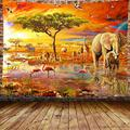 DBLLF Animal Tapestry African Safari Scenic Backdrop Tapestry Realistic Wild Animals Jungle Forest Photography Background Tropical Tapestry Summer Party Banner Decorations 80×60 inches DBLS1061