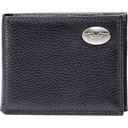 Aviation Pilot Wings Medallion Black Leather Men's Wallet with Leather Ramp Pass Insert