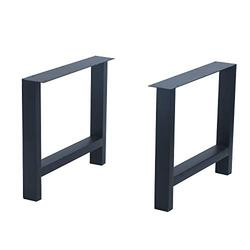 "Weven Industrial Metal Modern 2 Pcs (H15.5"" x W17.5"") Furniture Legs Rustic Decory H Type Table Legs,Heavy Duty Metal Desk Legs,Dining Table Legs,DIY Cast Iron Bench Legs,Black"