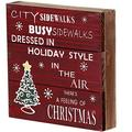 """Rustic Christmas Sign Decor Wood Plaque Hanging Wall Art Sign, 8"""" x 8"""" Primitive Christmas Box Sign Hanging Decoration Wooden Wall Decor Sign City Sidewalks Home Decor Accent (Xmas Sign B)"""