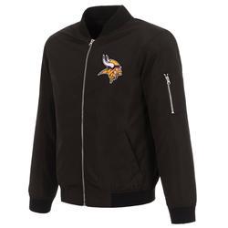 Men's NFL Pro Line by Fanatics Branded Black Minnesota Vikings Nylon Full-Zip Bomber Jacket