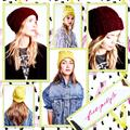 Free People Accessories   Free People Harlow Cable-Knit Beanie   Color: Green/Purple   Size: Various