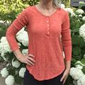 Anthropologie Tops | Anthro Pure + Good Buttoned Lace Henley Top Orange | Color: Orange | Size: M