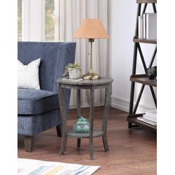American Heritage Round End Table in Dark Gray Wirebrush - Convenience Concepts 7106259WBDGY