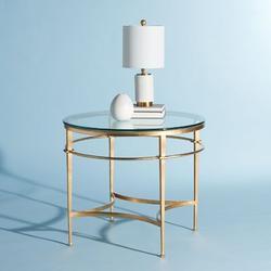 Safavieh Carlin Glass Top End TableGlass/Metal in Yellow, Size 28.4 H x 30.0 W x 30.0 D in   Wayfair AMH8301A