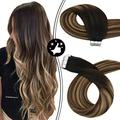 Moresoo Balayage Tape in Hair Extensions Shadow Root Tape in 12Inch Natural Black to Blonde Ombre Chocolate Brown with Highlights 20pieces Glam Seamless Remy Human Hair 30g