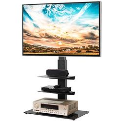 5Rcom Swivel Floor TV Stand with 3 Shelves TV Stand Mount for Most 32 37 47 50 55 60 65 inches Plasma LCD LED OLED Flat Screen or Curved TVs,Cable Management and Height Adjustable, Black