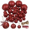 "Winlyn 30 Pcs Burgundy Jingle Bells with Star Cutouts Christmas Metal Sleigh Bells Rustic Craft Bells for Christmas Tree Wreath Garland Ornaments Holiday DIY Decorations Assorted Sizes 1.6"" 2.4"" 3.5"""