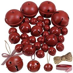 """Winlyn 30 Pcs Burgundy Jingle Bells with Star Cutouts Christmas Metal Sleigh Bells Rustic Craft Bells for Christmas Tree Wreath Garland Ornaments Holiday DIY Decorations Assorted Sizes 1.6"""" 2.4"""" 3.5"""""""