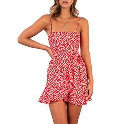 Relipop Women's Dresses Floal Print Spaghetti Strap Ruffle Wrap Front Tie Knot Fishtail Short Dress Red