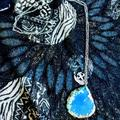 American Eagle Outfitters Jewelry | 2 For $15 Jewelry Silver Tone Blue Geode Necklace | Color: Blue/Silver | Size: Os