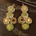 Anthropologie Jewelry | Anthropologie Beaded Chandelier Earrings | Color: Gold/Green | Size: Os