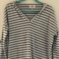 American Eagle Outfitters Tops   American Eagle Striped V-Neck Sweatshirt   Color: Blue/Gray   Size: L