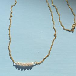 Anthropologie Jewelry   Boho Pearls Necklace +Anthropologie Paper Gift Bag   Color: Gold   Size: Necklace About 32 L