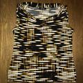 Nine West Tops | Black And Golden Tan Drape Neck Top | Color: Black/Tan | Size: L