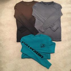 American Eagle Outfitters Shirts   American Eagle Ls Shirts (3) Sz Xs   Color: Black/Brown/Gray/Green   Size: Xs